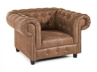 WHITE LABEL - fauteuil fixe oxford chesterfield cuivré vintage - Fauteuil Chesterfield
