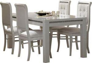 COMFORIUM - table à manger 190 cm blanc + 4 chaises ultra desi - Salle À Manger