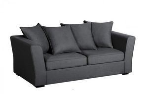 Home Spirit - canapé lit convertible watson tissu tweed noir mat - Canapé Lit