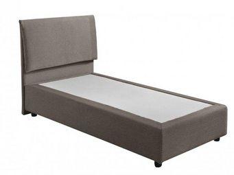 WHITE LABEL - lit design haut de gamme fouquet 90*190 cm cuir éc - Lit Simple