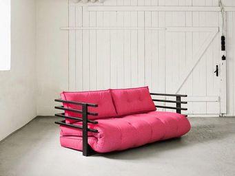 WHITE LABEL - canapé convertible noir funk futon rose magenta co - Lit D'appoint Gonflable