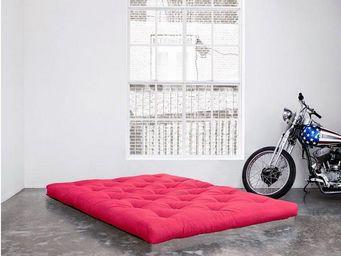 WHITE LABEL - matelas futon confort rose 120*200*15cm - Futon