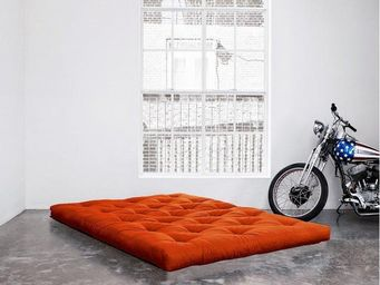 WHITE LABEL - matelas futon coco orange 200*200*16cm - Futon