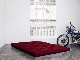 WHITE LABEL - matelas futon double latex bordeaux 140*200*18cm - Futon