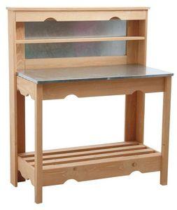 Aubry-Gaspard - établi en bois volige et en zinc 102x120x50cm - Etabli