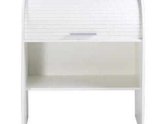 TOUSMESMEUBLES - bureau cylindre � rideau blanc - curtys n�6 - l 85 - Secr�taire