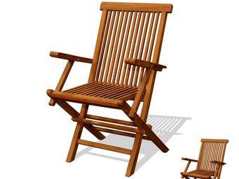 WHITE LABEL - duo de chaises à bras pliables en teck - bikini n° - Chaise De Jardin Pliante