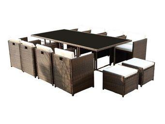 WHITE LABEL - table + fauteuils + poufs chocolat - borabora - l - Salle À Manger De Jardin