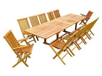WHITE LABEL - ensemble table et chaises de jardin - aout - l 300 - Salle À Manger De Jardin