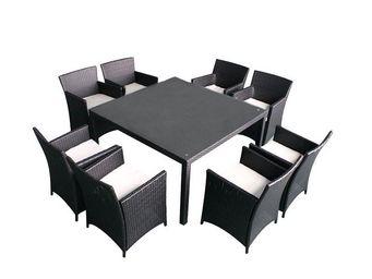 WHITE LABEL - salon de jardin 8 fauteuils noir/ecru - tuamotu - - Salle À Manger De Jardin