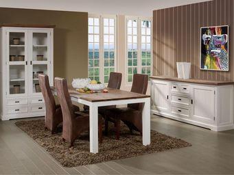 WHITE LABEL - salle à manger complète - rio - l 180 x l 90 x h 7 - Salle À Manger