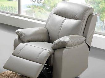 WHITE LABEL - fauteuil relax électrique cuir - vyctoire - l 88 x - Fauteuil De Relaxation
