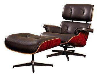 WHITE LABEL - fauteuil cuir noir/bois - evans - l 79 x l 81 x h - Fauteuil Et Pouf