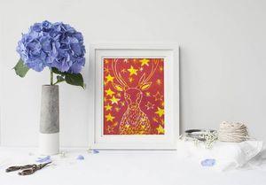 la Magie dans l'Image - print art cerf etoilé rouge - Estampe