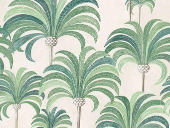 THEVENON - la palmeraie vert tropical fond cra¨me - Tissu D'ameublement