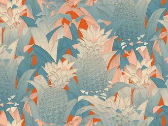 THEVENON - tropical klang bleu fd orange - Tissu D'ameublement