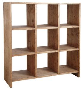 Aubry-Gaspard - bibliothèque 9 cases en épicéa ciré miel - Bibliothèque Ouverte
