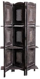 Aubry-Gaspard - paravent avec étagères en bois vieilli - Paravent