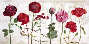 Nouvelles Images - affiche le jardin aux fleurs rouges - Affiche