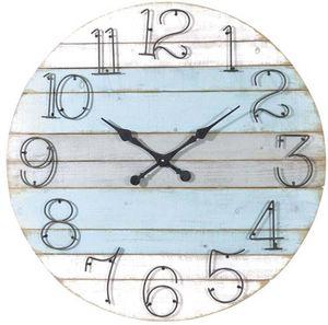 Aubry-Gaspard - horloge ronde en bois marine - Horloge Murale
