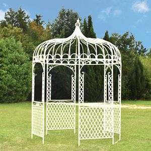 CHEMIN DE CAMPAGNE - gloriette kiosque tonnelle en fer de jardin blanc  - Kiosque