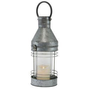 CHEMIN DE CAMPAGNE - lanterne tempête en fer métal zinc 46 cm - Lanterne D'intérieur