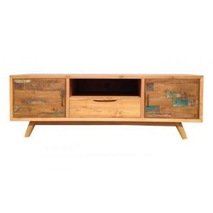 Mathi Design - meuble tv bois massif wood 145 cm - Meuble Tv Hi Fi