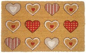 Aubry-Gaspard - paillasson en fibres de coco 12 coeurs colorés - Paillasson