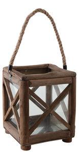 Aubry-Gaspard - lanterne de jardin carrée en bois et verre - Lanterne D'extérieur