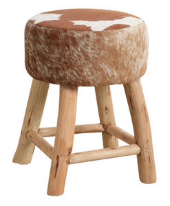 Aubry-Gaspard - tabouret en bois et peau de vache - Tabouret
