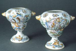 J.m. Bealu & Fils - paire de vases pots-pourris en faïence - Pot Pourri