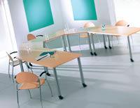 Act Furniture Manufacturers - trapezoids on pole legs with castors - Table De Réunion