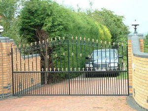 Access Controls - single gate made to look like a double - Portail De Jardin