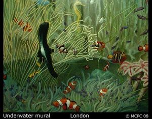 Mark Paradine Cullup - underwater mural - Trompe L'oeil