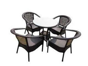 UsiRama.com - pratik table et 4 fauteils en résine tressée - Table De Jardin Ronde