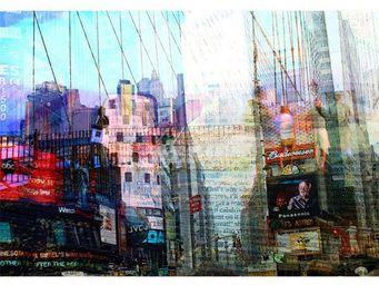 Magel'design - new york paper time 120x80 cm , 3d effet relief - Tableau Contemporain