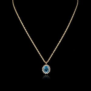 Expertissim - cha�ne et pendentif en or, topaze et diamants - Pendentif