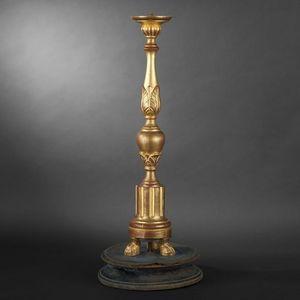 Expertissim - pique-cierge en bois sculpt� et dor� du xixe si�cl - Pique Cierge