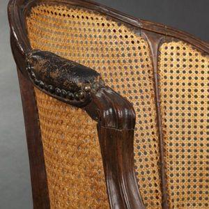 Expertissim - fauteuil de bureau canné d'époque louis xv - Fauteuil Cabriolet
