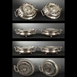 Expertissim - paire de chauffe-plats ronds en métal doublé. mili - Chauffe Plat