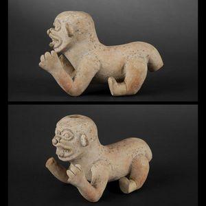 Expertissim - statuette de félin rampant. equateur, jama coaque - Objet D'art Précolombien