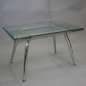 Smart Boutique Design - table en verre à rallonges cristal - Table De Repas Rectangulaire