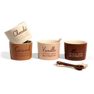 Maisons du monde - coffret 4 pots + cuillères chocolat - Ravier
