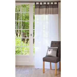 Maisons du monde - rideau chaumont gris blanc - Rideaux À Passants