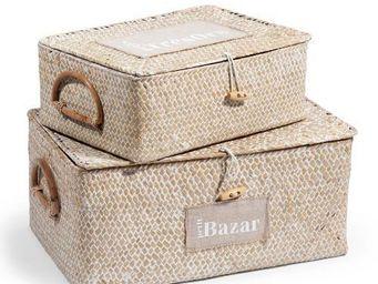 Maisons du monde - assortiment de deux boîtes etiquette blanc - Boite De Rangement