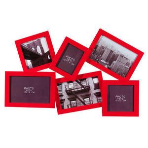 Maisons du monde - cadre 6 vues relief rouge - Cadre Multi Vues
