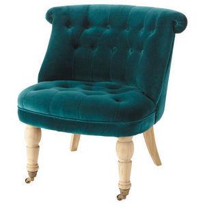 MAISONS DU MONDE - fauteuil velours bleu constantin - Fauteuil
