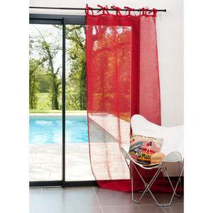 Maisons du monde - rideau lin rouge nouettes - Rideaux À Lacettes