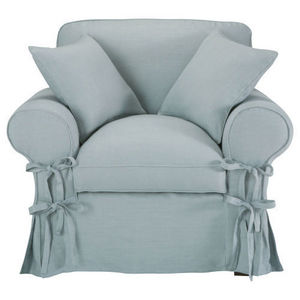 Maisons du monde - fauteuil lin bleu grisé butterfly - Fauteuil