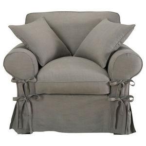 Maisons du monde - fauteuil lin gris clair butterfly - Fauteuil